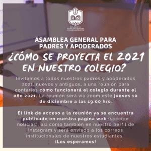 ¿Cómo estamos proyectando el 2021 en nuestro colegio? – Invitación y link para la asamblea General de Padres y Apoderados