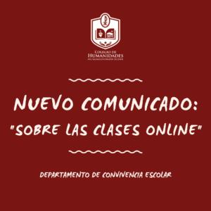 Comunicado: Sobre clases online